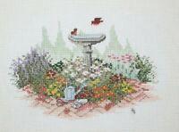 Garden Birds Flowers Bird Bath Cross Stitch Completed Finished