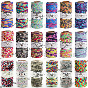1MM Variegated Polished Hemp Twine Hemptique Cord Macrame String 20lbs 205FT/Pkg