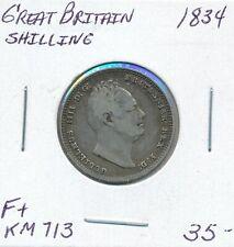 GREAT BRITAIN SHILLING 1834 WILLIAM IIII KM 713  -  F+