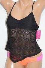 *NWT Hula Honey Black Crochet Strappy Tankini Swim Top Junior XS XSmall #H65