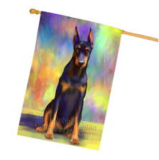 Pardise Wave Doberman Pinscher Dog House Flag Flg53797