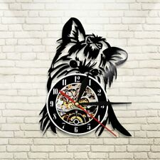 Yorkshire Terrier Wall Clock Vintange Dog Silhouette Vinyl Clock Home Decor Wall