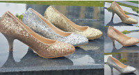 NEW LADIES SPARKLY GLITTER LOW HEEL COURT FULL TOE SHOES PUMPS PARTY PROM 3-8