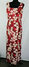 Royal Creations 2XL Hawaiian Women's Red Maxi Dress With  Orchids Side Slit