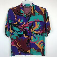 Vintage Jimmi Garcia Women's Short Sleeve Button Up Shirt Blouse Size M