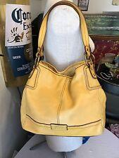 The Sak handbag yellow leather tote gold tone hardware