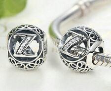 hot letters Z European Silver CZ Charm Beads Fit sterling 925 Bracelet Chain #6