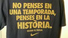 Nike  Rare T-Shirt Mens Blue Brasil Portuguese Writing Large  See Measurements