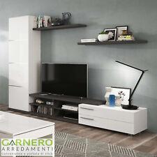Parete attrezzata MELISSA bianco/grigio mobile tv soggiorno moderno