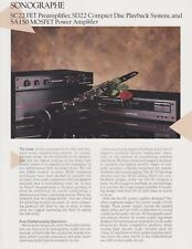 Sonographe Original Brochure for the SC22 PreAmp, CD22 CD, SA 150 Amp