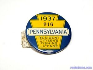 Vintage 1937 Pennsylvania Fishing License Button and Paper