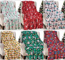 "Christmas Throw Blanket Holiday Theme 50"" x 60"" Cozy Soft Warm Durable Blanket"