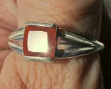 1.21ct Orangey Red MEXICAN FIRE OPAL 7mm Square 925 Sterling Silver Ring Size 9