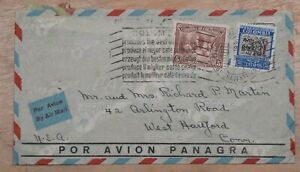 Mayfaristamps Colombia 1938 tot West Hartford CT Panagra airmail Cover wwp10499