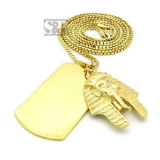 "2mm, 30"" Box Chain Hip Hop Necklace Sprc339 King Tut Piece & Dog Tag Pendant &"