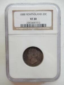 1888, NEW FOUNDLAND 20 CENT PIECE, NGC VF 30 DETAILS       #V83