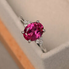 2.15 Ct Oval Cut Ruby Diamond Engagement Ring 14K Solid White Gold Size M N O P