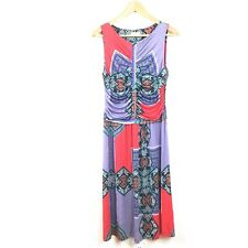 ETRO Dress 44 Red Purple Multi Printed Pleated Draped Jersey Knit Women's