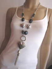 Modekette lang Damen Hals Kette Modeschmuck Silber Schwarz Herz Quaste Lagenlook