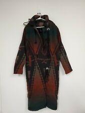 Woolrich Sz LG Woman Blanket Jacket Womens Wool Coat Southwest duster hooded