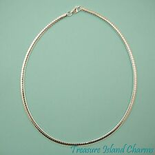 "16"" OMEGA .925 Solid Sterling Silver CHAIN NECKLACE CHOKER 4mm FROM ITALY"