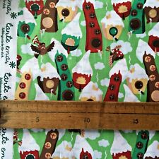 0.5 metre Christmas Snow Houses Cotton - Green 100% Cotton Fabric 142cm wide