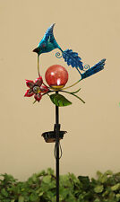 "Blue Jay Bird 42"" Metal Yard Stake Solar Lighted Yard Garden Art New"