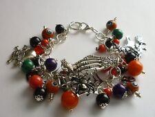 *Silver Tone Charm Bracelet Halloween Spider Web/Skeleton Hand/Skull/Witch Beads