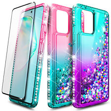 For Samsung Galaxy Note 10 Lite Liquid Glitter Phone Case Cover + Tempered Glass