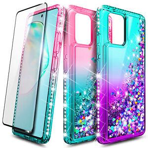 For Samsung Galaxy S10 Lite Case Liquid Glitter Defender Cover + Tempered Glass