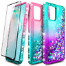 For Samsung Galaxy Note 10 Lite Case Liquid Glitter Phone Cover + Tempered Glass