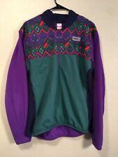 Vintage Trek USA Men's L/XL Fleece/Nylon Cycling Jersey 1/4 Zip Print Pattern