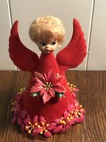 Vintage RED Flocked Angel Doll Face Poinsettias Tree Topper/Christmas Decoration
