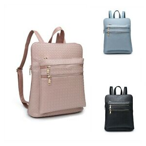 Woman Girl Synthetic Leather Medium Boutique Thin Woven Pattern Backpack UK