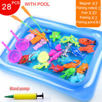 Magnetic Fishing Toy Set Kids Fishing Games Outdoor Toys Rod Inflatable Pool UK