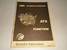 Service Training Techniker Information Einführung Ford ATX Getriebe Escort, 1982