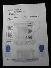 1969-70 FA Cup 3rd Round Chelsea v Birmingham City Matchsheet