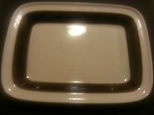 Rorstrand Sweden Forma P555 Small Retangle Serving Plate Pottery Brown Ivory