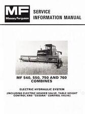 Massey Ferguson MF-540 550 750 760 Combine Electric Hydraulic Service Manual