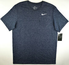 Nike Navy Blue Heather T-Shirt Pocket Tee Running Gym Athletic Cut Men's Large