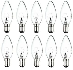 10x Candle Light Bulbs 25w / 40w / 60w Lamps Small Bayonet SBC B15 Clear