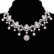 Victorian Jewelry White Lace Flower Pearl Pandent Choker Collar Bib Necklace