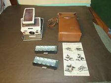 Vintage Polaroid SX-70 Camera Model 2 Brown Ivory Untested w/case/flash/manual