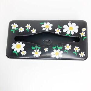 Vintage Ransburg Tissue Box Holder Metal Daisy Floral Black Wall Mount 1950s