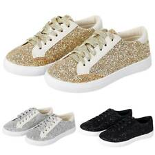 Women Ladies Running Trainers Glitter Fitness Gym Flat Sports Lace Up Shoes Size