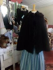 Victorian Clothing Civil War Vintage Lamb's Wool Monkey Trim Cape One Size
