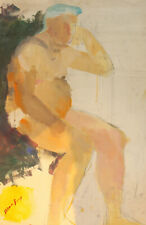 Vintage French/US abstract nude portrait gouache painting signed Man Ray