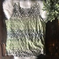 LANE BRYANT Green Diamond Print Tank Top Women's Plus Size 18 20 EUC