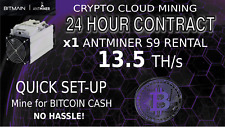 CLOUD MINING Contract Antminer Rental S9 13.5 TH SHA256 Bitcoin BTC BCH 24 Hours