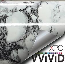 White Black Veined Marble Gloss Vinyl Architectural Wrap for Home Office Furn...